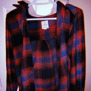 American eagle Christmas flannel with fuzzy hood
